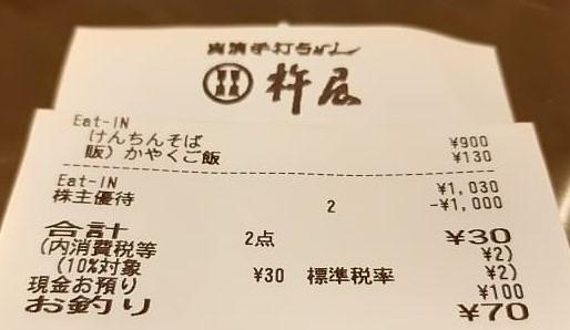 杵屋のレシート 株主優待使用